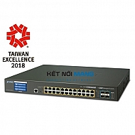 Thiết bị chuyển mạch planet L2+ 24-Port 10/100/1000T 802.3at PoE + 4-Port 10G SFP+ Managed Switch with LCD touch screen