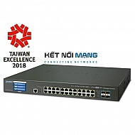 Thiết bị chuyển mạch planet L2+ 24-Port 10/100/1000T + 4-Port 10G SFP+ Managed Switch with LCD touch screen