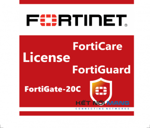 Bản quyền phần mềm 1 Year Unified (UTM) Protection (8x5 FortiCare plus Application Control, IPS, AV, Web Filtering and Antispam, FortiSandbox Cloud) for FortiGate-20C